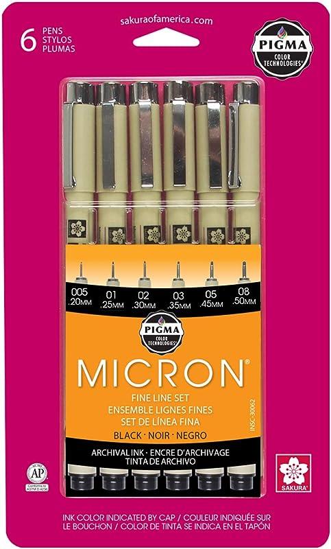 Sakura Pigma 30062 Micron Blister Card Ink Pen Set Black Ass T Point Sizes 6CT Set