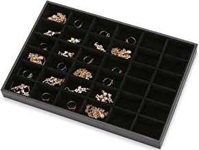 Black Velvet Stackable 36 Compartments Jewelry Tray Showcase Display Organizer Holder Rectangle Storage Box Case Containers Chest for Women Gemstone Pendant Key Marble Crystal Stone Accessory Diamond