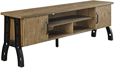 "Kirstin-II Rustic Oak Wood/Metal 72"" TV Stand by Furniture of America"