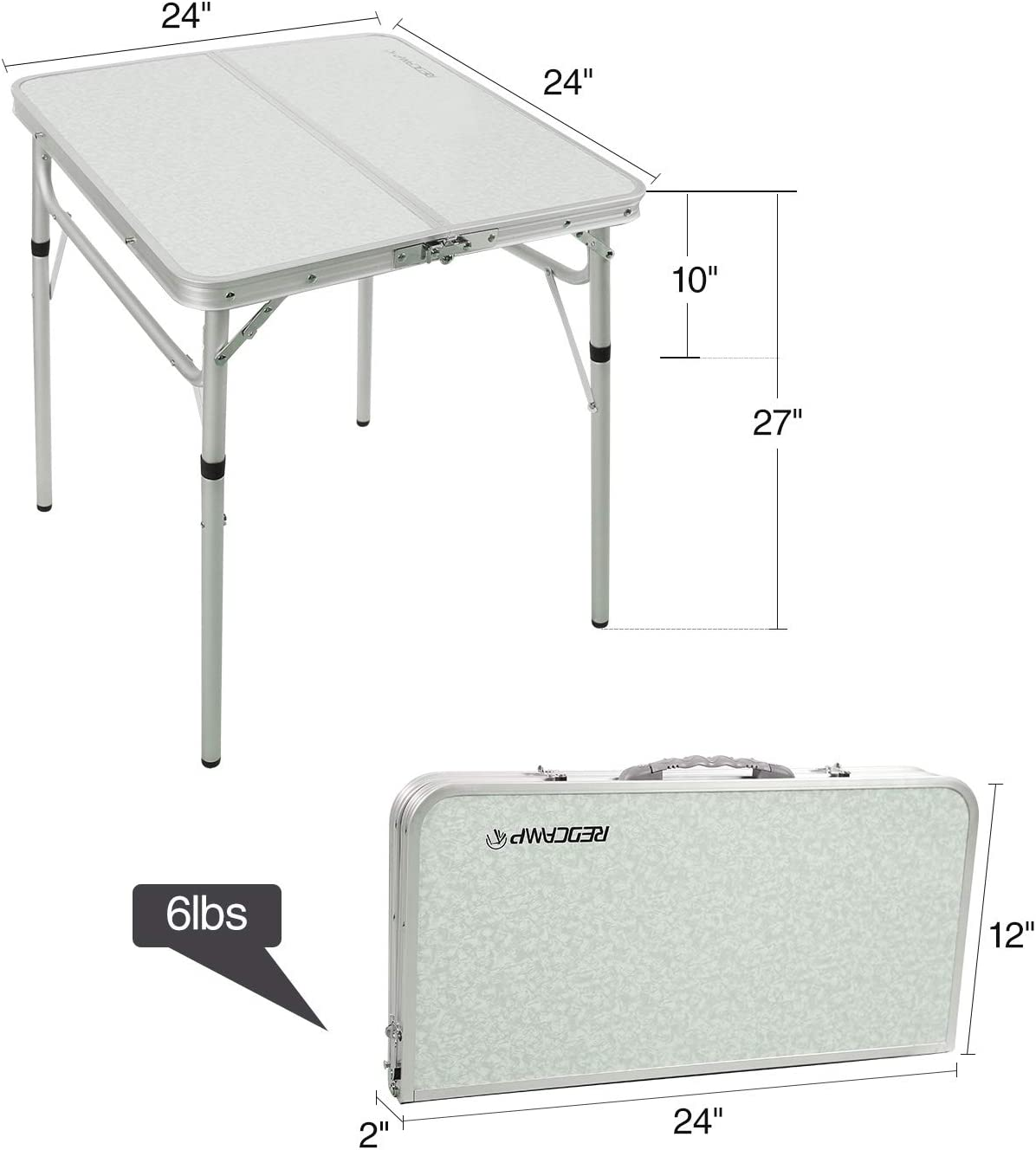 Aluminum Camping Table Lightweight REDCAMP Small Folding Table Adjustable Height 23.6x15.7x10.2//19