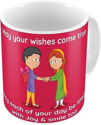 Indigifts Rakshabandhan Gifts for Brother Blessings to Bro Quote Printed Coffee Mug 330 ml, Rudraksha Rakhi, Roli & Greeting Card - Raksha Bandhan Gifts, Best Rakhi Gifts for Brother, Rakhi for Brother with Gifts