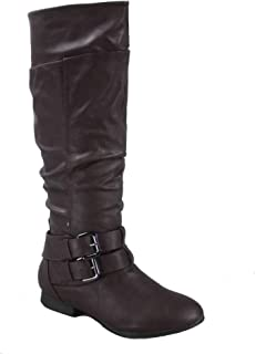 265ef9dfe10 Top Moda Coco-20 Women s Fashion Round Toe Low Heel Knee High Zipper Riding  Boot