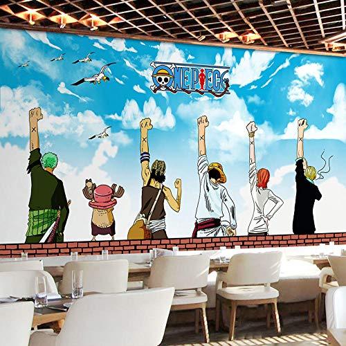 WWMJBH Behang zelfklevend 3D piraat Jongen tieners anime-behang fotobehang 3D fotobehang kinderen jongen meisjes slaapkamer muurkunst woonkamer tv-achtergrond behang decoratie 450x300 cm (BxH) 9 Streifen - selbstklebend
