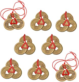 EasyBravo 10 Sets Fortune Coins Feng Shui Coins with Red String for Wealth and Success, 30 Coins