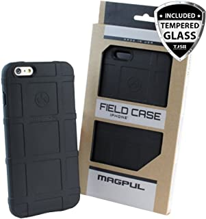 Case for Apple iPhone SE/iPhone 5S / iPhone 5, with [TJS Tempered Glass Screen Protector] Magpul [Field] MAG452 Polymer Case Cover Retail Packaging (Black)