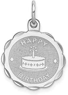 925 Sterling Silver Happy Birthday Disc Pendant Charm Necklace Special Day Fine Jewelry Gifts For Women For Her