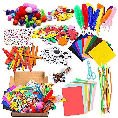 Bastelset Kinder 1000Pcs Kids DIY Art Craft Box Crafting Supplies Kit DIY Projects Scrapbooking Bastelset Glitter Pompons, Federn, Knöpfe, Pailletten für Kinder DIY Kunstbedarf, Pfeifenreiniger