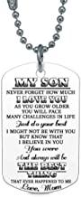 ZXOTTY My Son Never Forget How Much I Love Mom Mommy Dog Tag Military Air Force Navy Coast Guard Necklace Ball Chain Gift for Best Son Birthday Graduation Stainless Steel