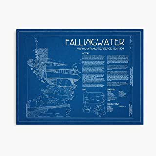 Akalin Fallingwater Survey Cover Blueprint - Frank Lloyd Wright 3D Canvas Printing Radon Frame Canvas Home Decorative Wall Art Painting Mural Printing 10.9inx8in