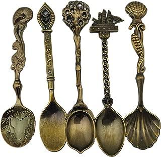 Vintage Spoons 5 Pieces Royal Style Bronze Carved Coffee Milk Small Spoon Flatware Spoons Set for Coffee Demitasse Tea Dessert Snacks