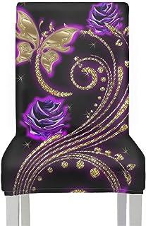 Gendaje 1/4/6 pièces Housses de Chaise de Mariage Spandex élastique Papillon imprimé Chaise Housses Salle à Manger Lavable...
