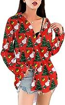 Christmas Women's Shirts Tops V Neck Button Down Long Sleeve Tunic Blouse Casual Couple Shirts Tops Gogoodgo