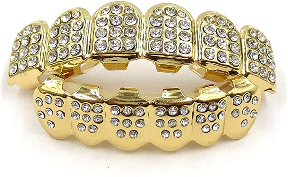 canjoyn 18K Gold Plated ICED Out CZ Teeth Grillz Top Bottom Tooth Caps Hip Hop Bling New Gold Shiny Grills
