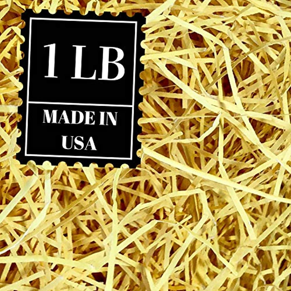 Shredded Paper Gift Basket Filler - Natural Packing Shreds for Crafts, Boxes and Bags, Recycled Decorative Stuffing Material, Raffia Confetti Easter Grass Fill by Mrs Fizz (Yellow, 1 LB)