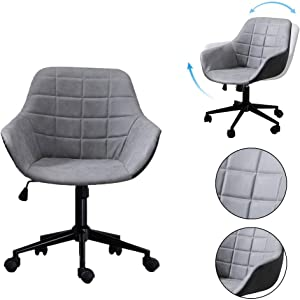 Retrofish Writing Computer Chair Mid Back Gaming Chair PC Office Chair Computer Racing Chair Ergonomic Adjustable Seat Height Thick Padding Stool Chairs for Women Men, US Shipping (Gray)