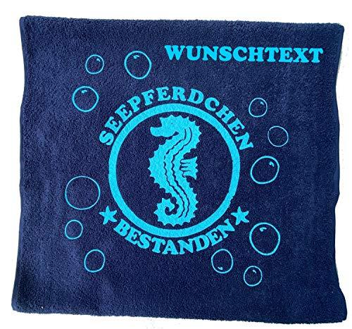 Seepferdchen Bestanden ! Kinder Handtuch mit Name oder Datum Schwimmen Lernen Schwimmunterricht Name des Kindes personalisiert