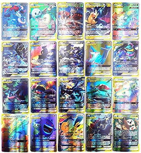 Pokemon Carte, AUMIDY 100pz Poke Cards TCG Style, 95GX+5Mega Carte Pokemon Box, Pokemon Flash Card Carta Iniziale Carta Collezionabile GX EX Mega Energy Trainer carte