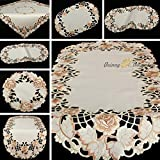 Quinnyshop Table Runner Placemats Rose Floral Embroidered Cutwork Oval app. 40 x 90 cm / 15-Inch-by-35-Inch Satin Look Polyester, Creme Brown