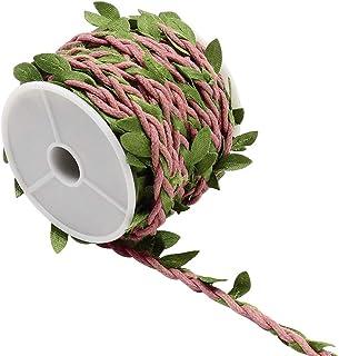 CCUCKY 10M künstliche Reben, gefälschte Laub-Efeublatt-Pflanze, dekoratives Rattan aus Jutegarn, für Festivalparty und Hochzeitsdekoration DIY Rosa