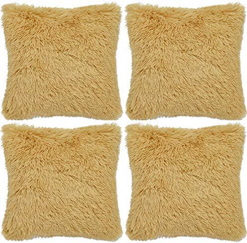 Adore 4 x Long Pile Soft & Cuddly Shaggy 17x17 (43x43cm) Faux Fur Cushion Cover, Ochre