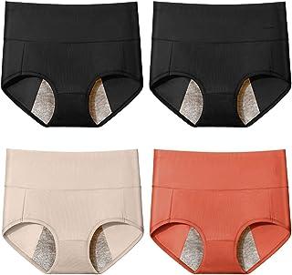 سراويل داخلية للنساء من القطن الخالص مضادة للتسرب، ملابس داخلية نسائية بخصر مرتفع للحيض، ناعمة، مريحة، مسامية ومرنة، متعدد...