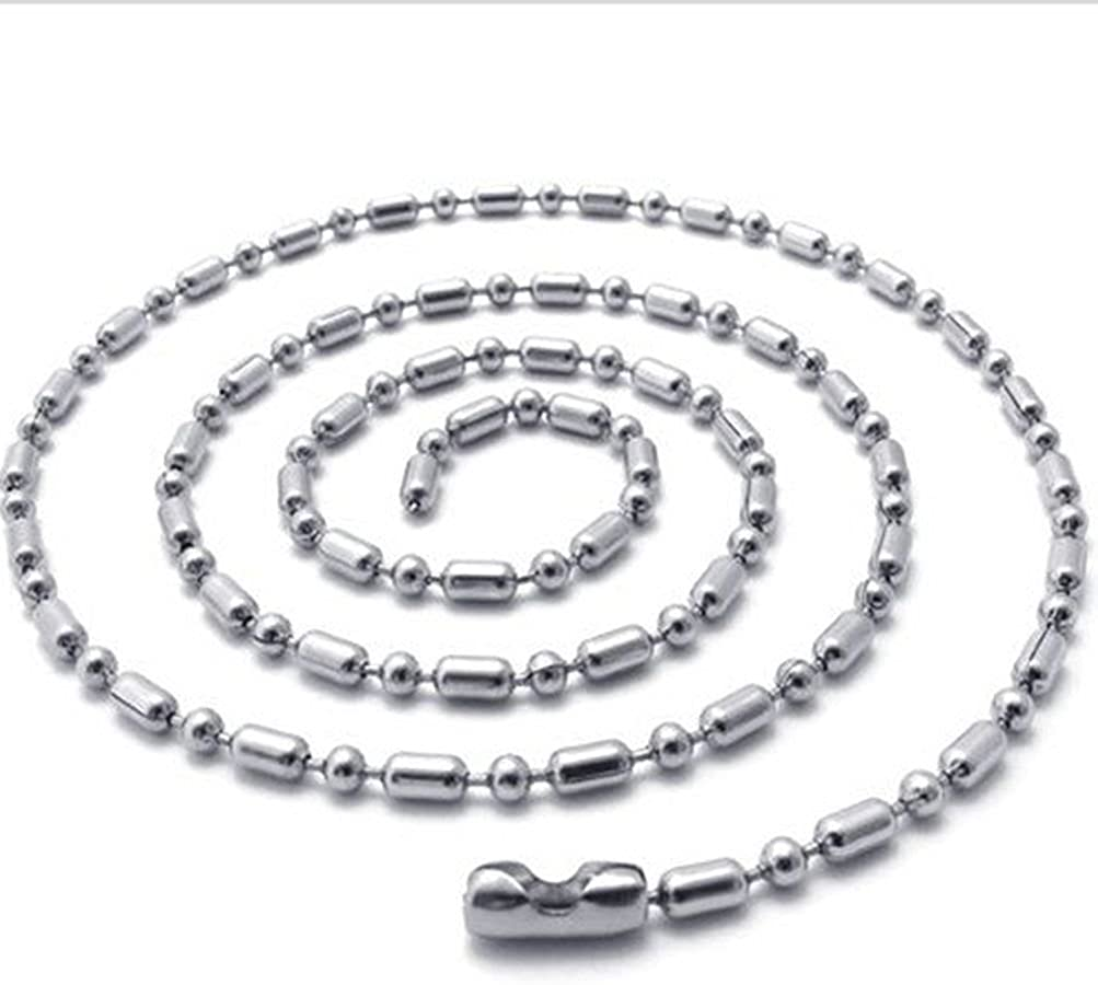 Mens Jewelry 1.5mm-4.5mm 18-36 Silver Stainless Steel Ball Necklace Chain
