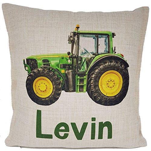 Kilala Kissen Traktor Namenskissen Trecker grün, Geschenkidee zum Geburtstag oder Vatertag Papa Junge Kinder