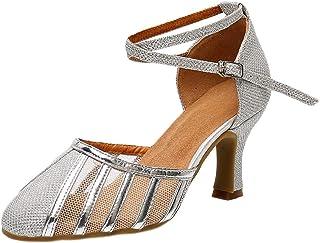 YKXLM Scarpe da Ballo Latino da Donna Scarpe da Ballo da Sala a Chiuse Davanti Scarpe da Ballo di Carattere Moderno Salsa ...