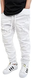 Victorious Men's White Twill Drop Crotch Jogger Pants