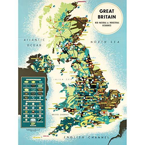 Map BIS 1945 United Kingdom UK Natural Resources Chart Art Print Canvas Premium Wall Decor Poster Mural kaart Groot-Brittannië muur decoratie