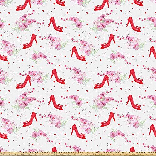 ABAKUHAUS Modern Stof per strekkende meter, Fashion Hoge hakken Flowers, Microvezel Stof voor Kunstnijverheid, 1 m, rood Wit