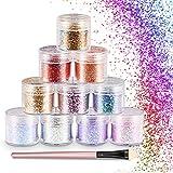 WOSTOO Glitter,Set di Polvere Glitter Polvere Glitterata Esagoni Trucco Cosmetico Glitter ...
