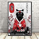 QINGRENJIE Plakate und Druck Japan Sushi Katze Poster