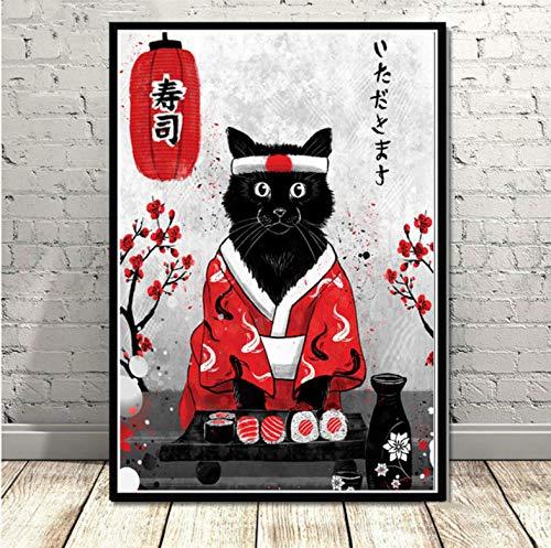 QINGRENJIE Plakate und Druck Japan Sushi Katze Poster Wandkunst Bild Leinwand Malerei für Raum Home Decor 50X70 cm ohne Rahmen