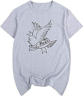 Lil Peep Music Camiseta de Verano, Cantante Hell-Boy Hiphop Rapper C-RY BA-by Camiseta de algodón para Hombre, Camiseta de...