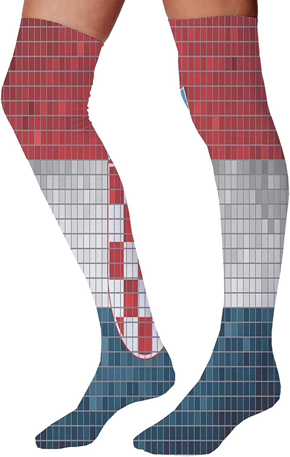 Men's and Women's Fun Socks,Abstract Illustration of Mouse Crowd Greeting Happy Full Moon in a Starry Night
