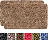 IRONGECKO Original Durable Absorbs Microfiber Mud Indoor Mat 2 Pack (29.5x17) Heavy Duty Door mat | Easy Clean, Low-Profile Mats for Entry,High Traffic Areas. (17' x 29.5' (2 Pack), Beige)