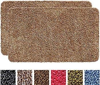 IRONGECKO Original Durable Absorbs Microfiber Mud Indoor Doormat 2 Pack  29.5x17  Heavy Duty Door mat | Easy Clean Low-Profile Mats for Entry,High Traffic Areas  17  x 29.5   2 Pack  Beige