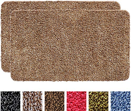 "IRONGECKO Original Durable Absorbs Microfiber Mud Indoor Mat 2 Pack (29.5x17) Heavy Duty Door mat | Easy Clean, Low-Profile Mats for Entry,High Traffic Areas. (17"" x 29.5"" (2 Pack), Beige)"