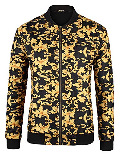 PIZOFF Herren Leichte Jacquard Bomber Jacke im Gold Barocco-Print, Gold-schwarz-floral, M