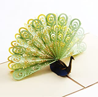 Creative 3D Greeting Card Children Handmade Custom Peacock Brown