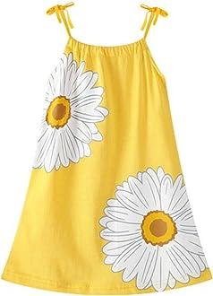 HILEELANG Girl Summer Beach Dress Halter Neck Sleeveless Casual Tank Outfit Sundress 1-12Y