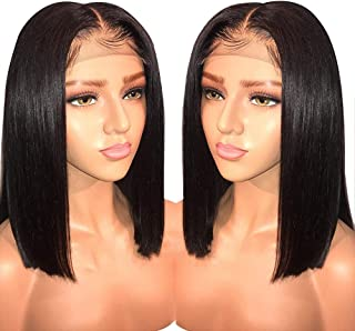 Kadoyee Hair 13x6 Pre Plucked Lace Front wigs human hair Brazilian Straight Hair Short Bob Wigs For Black Women Bleached Knots(8inch 150% Density)