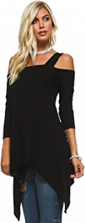 Isaac Liev Flowy Wide Strap Cutout Cold Shoulder 3/4 Sleeves Tunic Top - Made in The USA