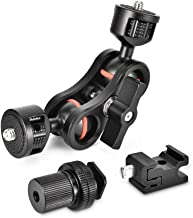 """UTEBIT Double Ballhead Arm 360 Degree Rotation Magic Articulating Arm 1/4"""" Heavy Duty Friction Arms Mount Bracket with Flash Light Hot Shoe + Camera Fixing Screw Adapter for Cmarea DSLR Monitor Video"""