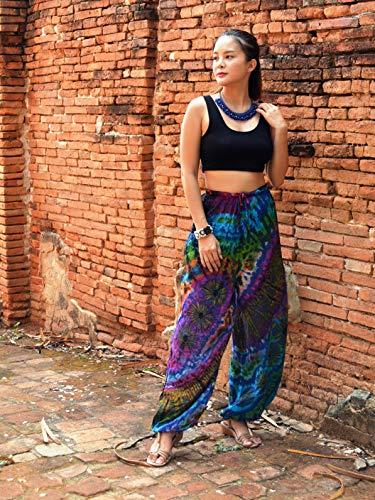 Orient Trail Women's Hippie Bohemian Yoga Pajama Tie-dye Hippie Pants UK 6-14 One Size Ocean Blue