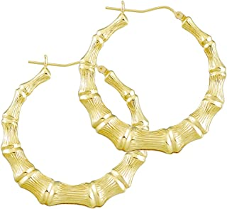 14K Gold Round Bamboo Hollow Hoop Earrings High Polished 1 11/16 Inches