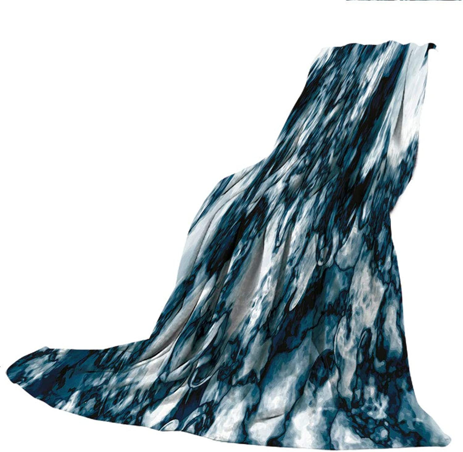 SCOCICI Blanket for Bed Couch Chair Fall Winter Spring Living Room,Marble,Unusual Gemstone Onyx Rock Nature Pattern with Vintage Paintbrush Effects Decorative,Slate bluee Pearl,59.06  W x 86.62  H