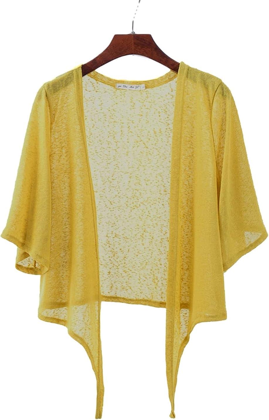 PEHMEA Women's Open Front Cardigan Casual Half Flare Sleeve Tie Front Bolero Shrug(Yellow,x-Large)