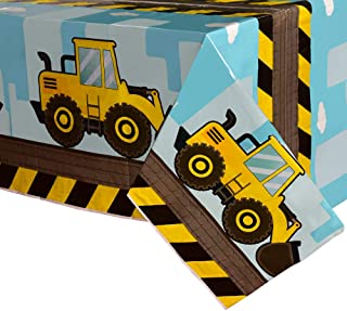 WERNNSAI Dump Truck Table Covers - 108''x 54'' Disposable Printed Plastic Tablecloth Party Supplies for Kids Boys Birthday...